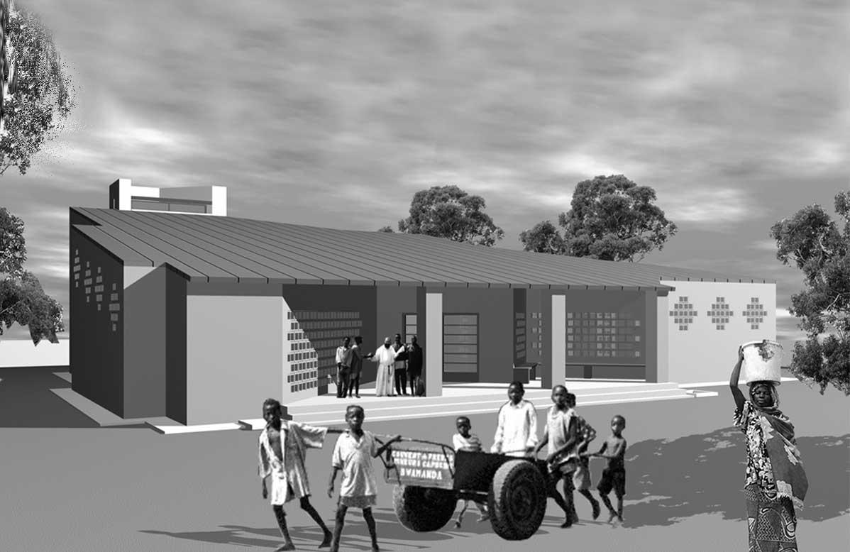 8 - Villaggio per 2.000 abitanti con residenze e servizi generali a Talata Mafara (Nigeria), per Inc SpA e Impresit Bakolori SpA; con A. Jatta e R. Magagnini - Render esterno della chiesa