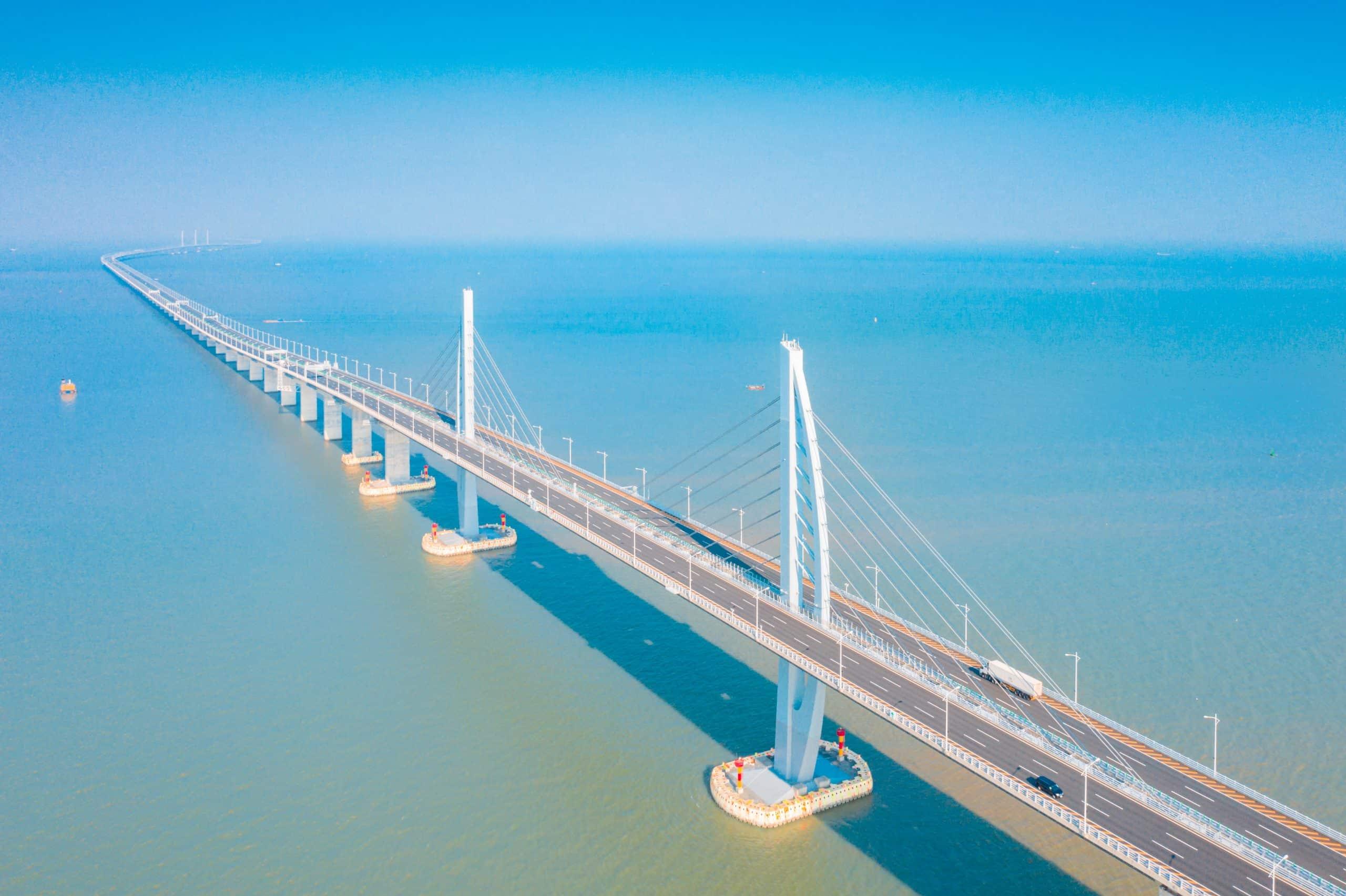 Aerial scenery of the Zhuhai section of the Hong Kong-Zhuhai-Macao Bridge in China